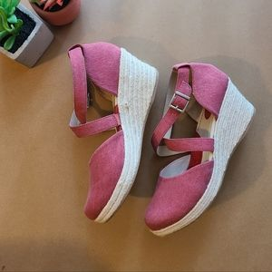 BOC Light Red Wedge Sandals 10M